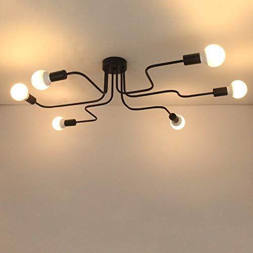 SJUN Vintage Edison 4/6/8 Lichter Deckenleuchten Industrie Schwarz Schmiedeeisen Kronleuchter Deckenlampe (Color : 6 Lights) -