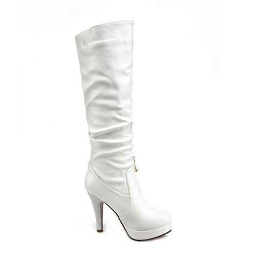 AllhqFashion Damen Rein Hoher Absatz Rund Zehe PU Leder Ziehen auf Stiefel, Weiß, 37