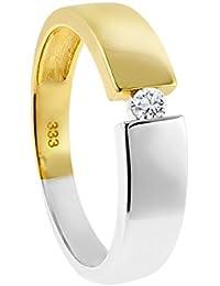 Diamond Line Damen-Diamant-Ring 333 Gelbgold teilrhodiniert 1 Diamant ca. 0,07ct. getöntes weiß Piqué (W-PI)