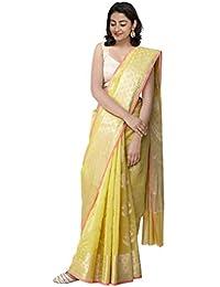 1c35749f12 Unnati Silks Women Banarasi Sico Saree with blouse and Brocade Weaving from  the Weavers of Uttar