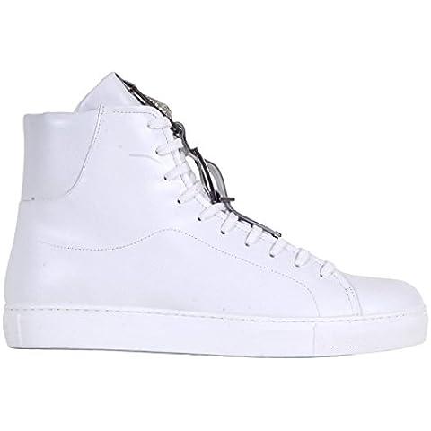 Versace blanco cuero de alta top trainers vers5441