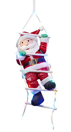 Bonetti Weihnachtsmann auf Strickleiter, die Leiter ist mit 30 bunten LEDs beleuchtet, kletternder Nikolaus für Innen- und Außen (traditionell)