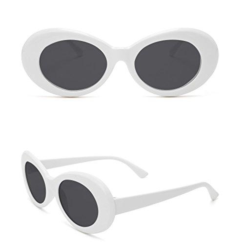 Dairyshop Dame Fashion Vintage Sonnenbrille Runde Rahmen Katze Auge Übergroße UV Schutz Sonnenbrille (Weiß Grau) (Runde, Sonnenbrille Weiße)