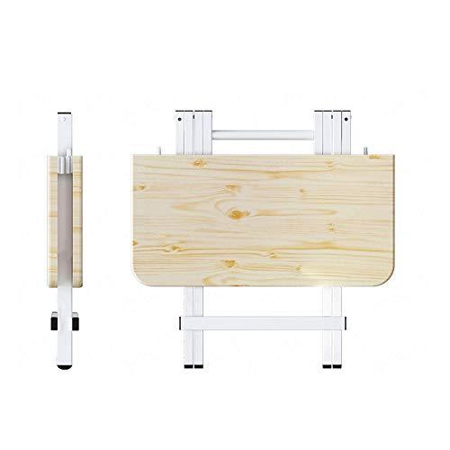EODUDO-S Leichtgewicht Kompakt Urlaub im Freien Picknick Party Camping Essen tragbare halb zusammenklappbare hölzerne MDF-Tabelle Atmungsaktiv Bequem (Farbe : Wood, Größe : 80 * 80 * 74cm) -