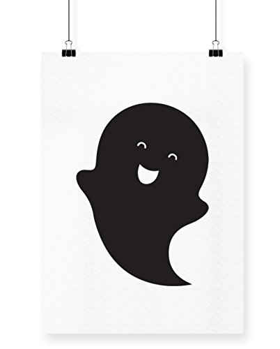 hippowarehouse Cute Ghost Poster Druck Wall Art Design, weiß, A3