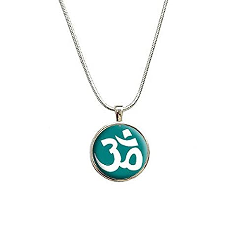 Om Aum Yoga Namaste White On Teal Blue Pendant with Sterling Silver Plated Chain