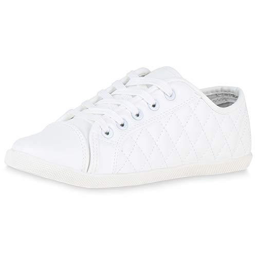 SCARPE VITA Damen Sneaker Low Gesteppte Turnschuhe Schnürer Freizeit Schuhe 174309 Weiss Gesteppt 37 - Weiße Gesteppte
