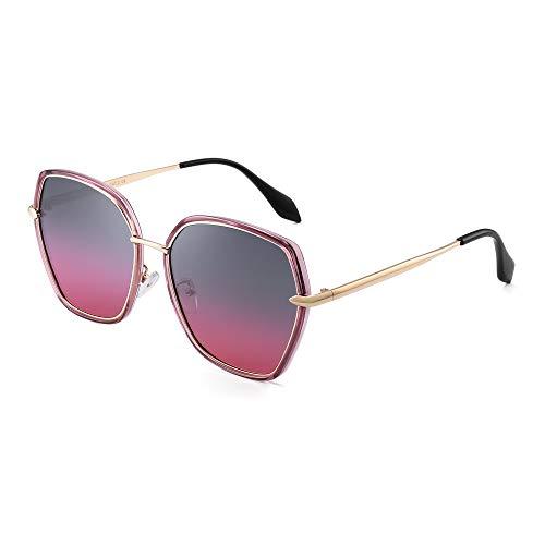 JIM HALO Oversized Polarisiert Sonnenbrille für Damen Polygon Designer Schatten UV400(Lila Gold Rahmen/Gradient Grau Rosa Linse)