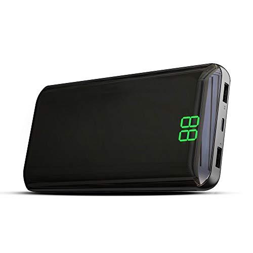 X-DRAGON Powerbank 24000mAh Externer Akku USB C & Micro Input Handy Ladegerät mit Digi-Power Display für iPhone X/8/8 Plus/7/6s/6 Plus, iPad, Smartphone, Huawei, Samsung und Tablet