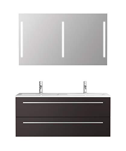 Badmöbel-Set Libato - 120 cm breit - Anthrazit Hochglanz - Badezimmermöbel Doppel-Waschtisch mit Unterschrank Spiegel mit Beleuchtung Sieper Jokey
