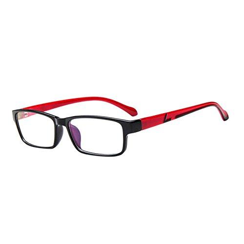 Deylaying Voll Rahmen Bunt Bein Kurz Entfernung Computer Goggles Kurzsichtigkeit Brille Blau Licht Filter Linsen (Stärke -1.0, Schwarz Rahmen Rot Tempel) (Diese sind nicht Lesen Brille)