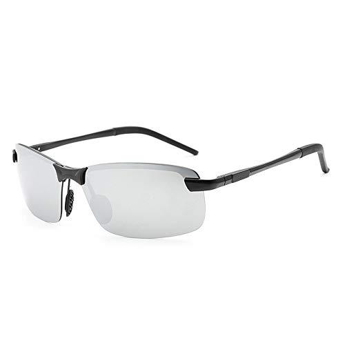 Easy Go Shopping Polarisierte Aluminium-Magnesium-Sonnenbrillen spiegeln Herrenbrillen-Sonnenbrillen für Herren wider Sonnenbrillen und Flacher Spiegel (Color : Black+Silver)
