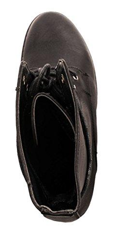 Femme Bottes Bottines pour femme Talon Bloc Aspect Cuir/rivets à lacets Biker Boots Worker Taille 36–418511 Schwarz New York