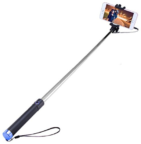 Heartly Luxury Extendable Folding Pocket Size Selfi Stick Monopod With Adjustable Phone Holder Wired Aux Cable For Mobiles & Cameras - Black Stick Blue Buttom