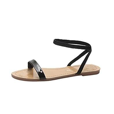 Bild nicht verfügbar. Keine Abbildung vorhanden für. Farbe  Anguang Einfach  Frauen Flach Römische Sandalen Casual Strand Slipppers Schuhe Schwarz 35 f74e915cb3