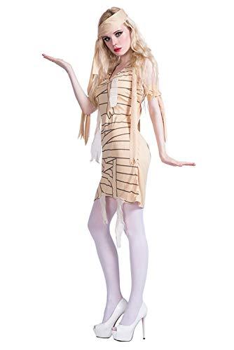 icewalker Damen Mumien-Kostüm Gelb V-Ausschnitt Slim Cosplay Fasching mit Armbinden Stirnband Kleid Set für Halloween Karneval Party Dress Up Gr. 80, gelb