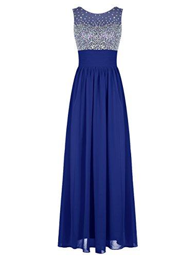 Bbonlinedress Robe de cérémonie Robe de demoiselle d'honneur forme empire emperlée longueur ras du sol Bleu Saphir