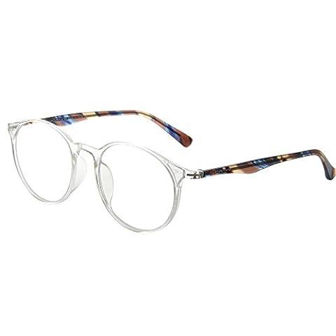 Amorays Retro Round Circle Male Female Reader Lightweight Magnifier Reading Glasses AM502(Matte transparent