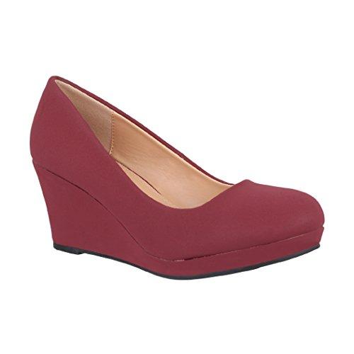 Elara Damen Pumps Keilabsatz Wedges Schuhe mit Plateau |Chunkyrayan B8011 Wine-38