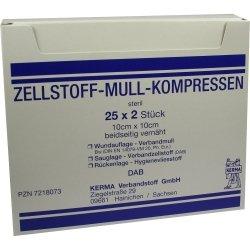 ZELLSTOFF MULLKOMPRESSEN 10x10 cm steril 50 St Kompressen
