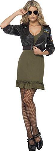 Damen Deluxe Top Gun Kostüm Kleid Plus Bomber Jacke Größe S Passend für 8 bis (Plus Größe Gun Top Kostüm)