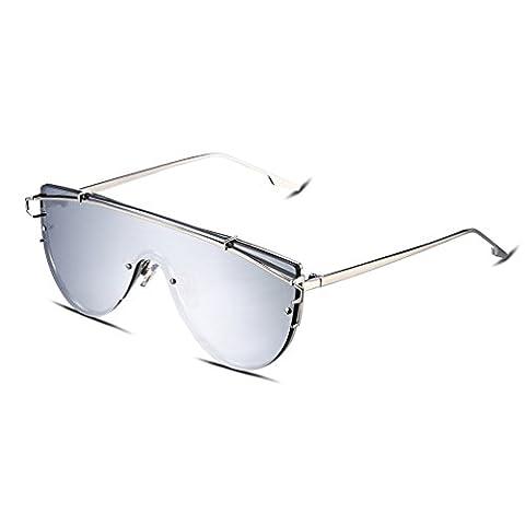 Hmilydyk Aviator Lunettes de soleil polarisées pour homme avec étui de lunettes de soleil Cadre en métal–UV 400Eyewear Lunettes, Silver Frame with Water Silver Lens