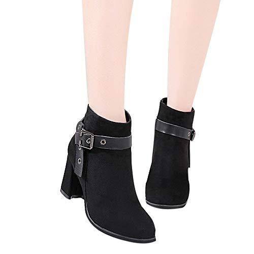 TianWlio Boots Stiefel Schuhe Stiefeletten Frauen Herbst Winter Mode Stiefel Runder Kopf Dicke untere Stiefel Klassische Stiefeletten Boots Weihnachten Schwarz 37