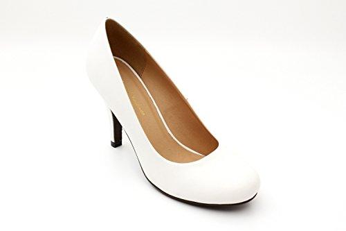 Andres Machado.AM422.Escarpins . Forme et talon classiques de 9 cm. Pointe de pied arrondie. Pour toutes les pointures de la 32 à la 45.… Blanc