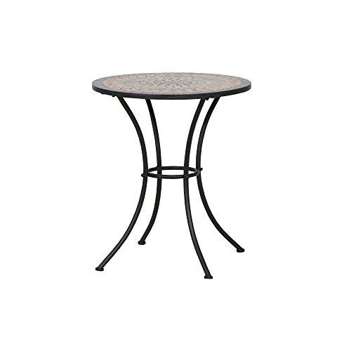 Siena Garden 380813 Tisch Prato, Ø60x71cm, Gestell: Stahl, pulverbeschichtet in schwarz matt, Fläche: Mosaik,Tischplatte: Keramik, Mehrfarbig