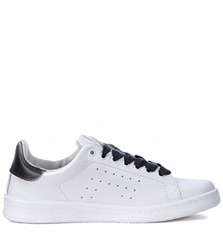 Nira Rubens Sneaker Daiquiri in Pelle con Cane Nero e Glitter Bianco