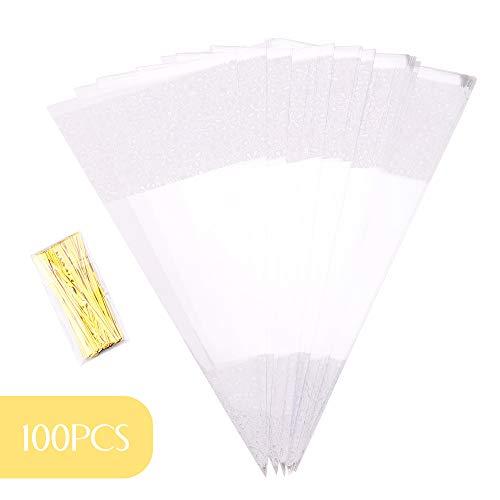 Malayas Cone Tüte 100 Stück Sü?igkeitentüten transparente 37 x 18 cm Cellophantüten mit Gold Bindestreifen