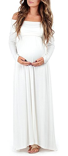 Supermom Damen Umstandskleid mit Langen Ärmeln - Weiß - Klein Soft Cowl Neck