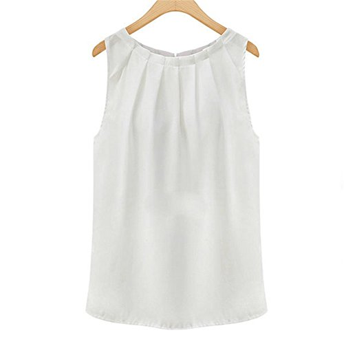 Damen Sommer Chiffonbluse Ärmelloses Shirt T-Shirt Chiffon Bluse ohne Ärmel Blusentop,Weiß
