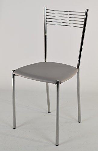 Tommychairs - set 4 sedie moderne e di design elegance per cucina bar salotti e sala da pranzo, con robusta struttura in acciaio cromato e seduta imbottita e rivestita in ecopelle colore grigio chiaro