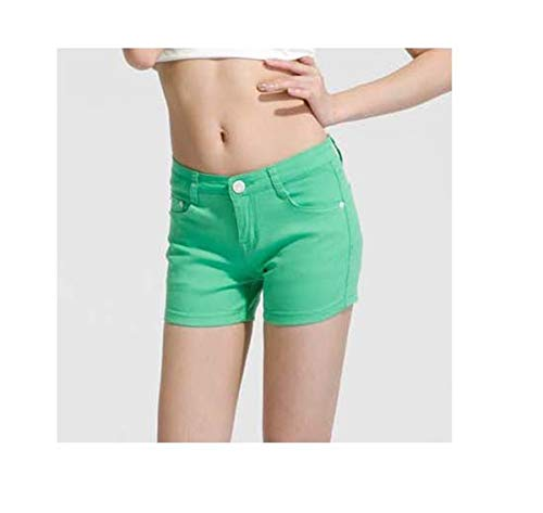 Summer Women Short Pants Slim Candy Colors Sexy Causal Jeans Fashion Shorts Easy Matching 16 Colors Plus Size Short Denim Green 26 - Button Fly Denim Bib