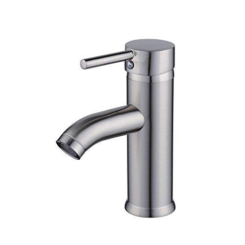 MEIBATH Badezimmer Waschbecken Mischbatterien Centerset Single Handle Solid Brush Nickel Wasserhahn Badarmatur Waschtischarmaturen