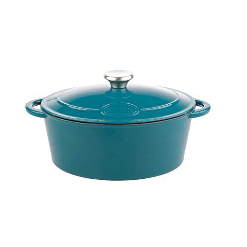 Sitram 712957, Cocotte Tradifonte ovale en fonte émaillée 4 Litres - Extérieur bleu, intérieur blanc mat - bouchon en inox - toutes sources de chaleur y compris induction et four