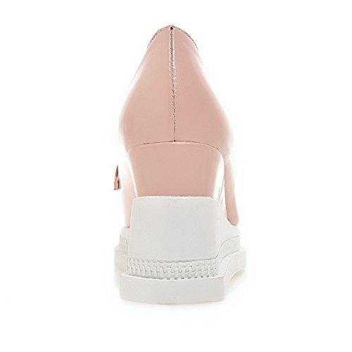 VogueZone009 Damen Ziehen Auf Rund Zehe Hoher Absatz Pu Leder Pumps Schuhe Pink