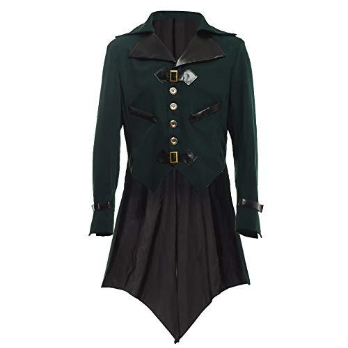 BLESSUME gotisch viktorianisch Frack Steampunk VTG Mantel Jacke Halloween Cosplay Kostüm (2XL, Dunkelgrün)