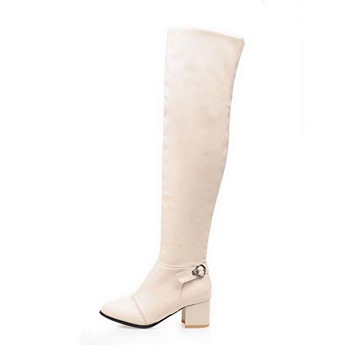 VogueZone009 Damen Rein Blend-Materialien Mittler Absatz Ziehen auf Spitz Zehe Stiefel, Weiß, 39