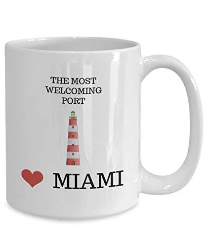 Betsy34Sophia Die freundlichsten Hafen-Miami-Andenken-Kaffeetasse 11oz Keramik-Tasse