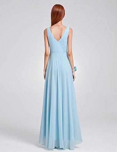 Ever Pretty Damen V-Ausschnitt Chiffon Lange Abendkleider 09983 Blau
