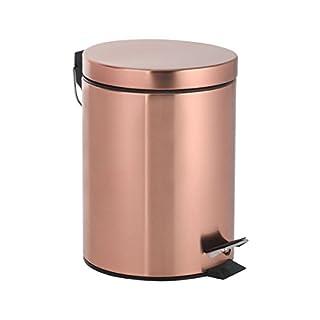Axentia Riga Cosmetic Bin in Copper Pedal Bin 3L Cosmetic Bin Lid Waste Bin with Pedal Bin for Bathroom & Toilet Metal Copper Colour Black 17 x 17 x 2.45 cm