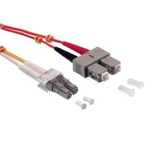 BIGtec 1m LWL Kabel Patchkabel OM2 Glasfaser-Kabel 10Gbit Multimode 50/125µm Ø 2mm Jumper LC - SC Stecker Duplex Orange Fiber Optic Cable -