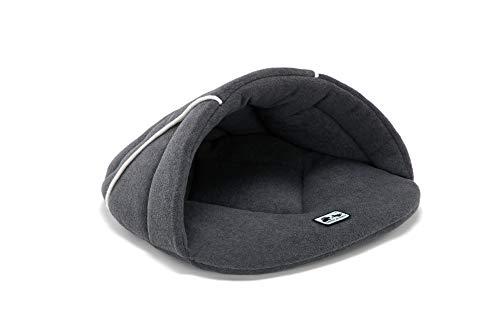 RC GearPro Original Kuschelbeutel Haustierbett, Hundehöhle, mit Kapuze, gemütliches Zelt Bett Haustier Schlafzone für Kleine mittelgroße Hunde Katze, L, grau