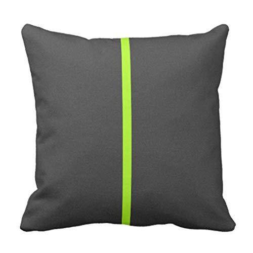 Kinhevao Dekokissen Buntes Neonhelles Lindgrün-Grau-zeitgenössisches Streifen-Mod-dekoratives Kissen-Ausgangsdekor-Quadrat-Kissen -