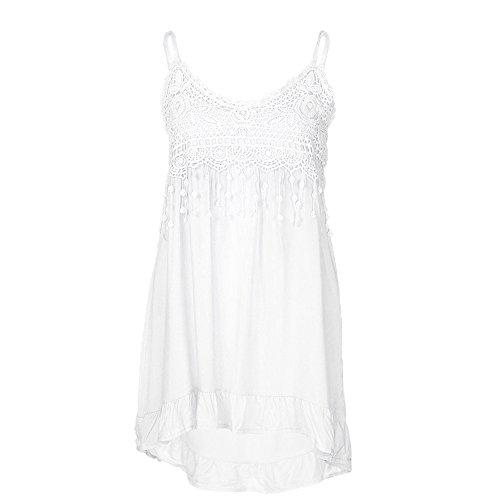 DIPOLA Damen T-Shirt Fashion Sleeveless Sommer Quaste Baumwolle Fashion Top Shirt Lace Panel Sling Top Weste (Schwarz Rot) -
