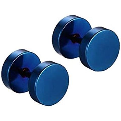 Contever® 1 par Plugs Piercing 8mm Acero Inoxidable Semental Pendientes Hombre Mujer Azul