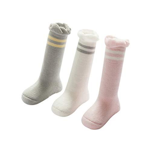 DEBAIJIA 3 Pares Unisex Calcetines Gruesos para Bebés Calcetines Largos de Algodón Suela Antideslizantes para Niños de 12-36 meses Recién Nacidos Invierno Cálidos Suaves y Cómodos - M
