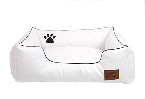 Golden Dog Hundebett Hundesofa Hundekissen Abnehmbarer Bezug, pflegeleicht, abwaschbar Steppy Weiß S 70x55cm